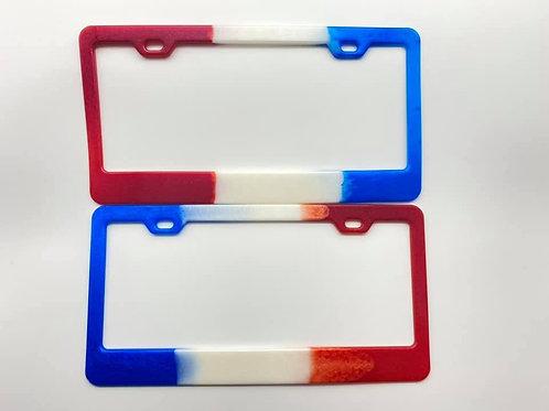 Red, White & Blue Resin License Plate Frames
