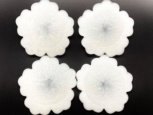White Flower Resin Coaster Set