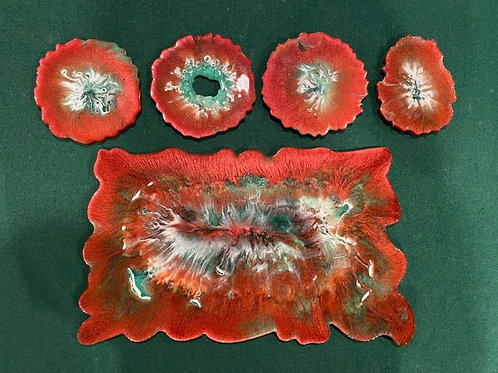 Red Copper Resin Tray & Coaster set
