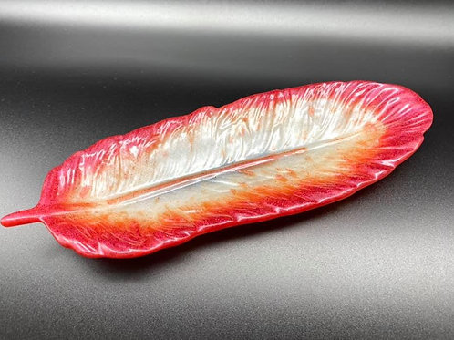 Red Resin Feather Dish