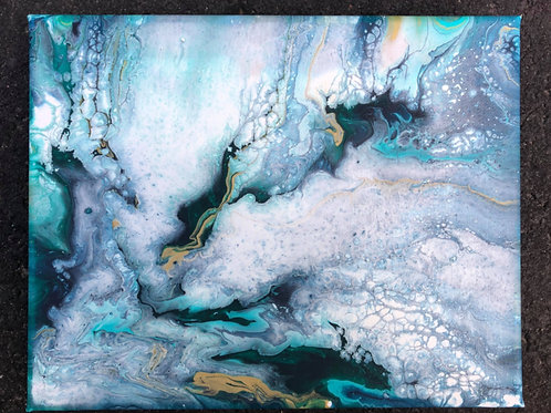 "SOLD. ""Teal Marble"" - 8""x10"" acrylic on canvas"