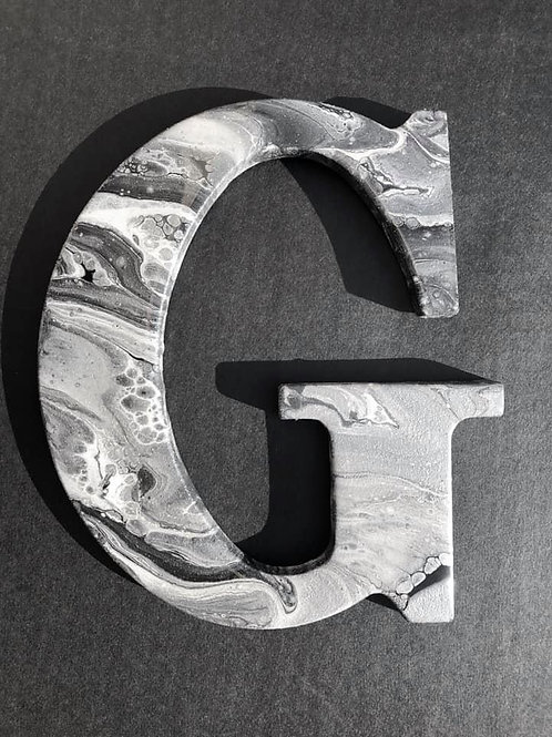 """G"" Marbled Wood Letter"