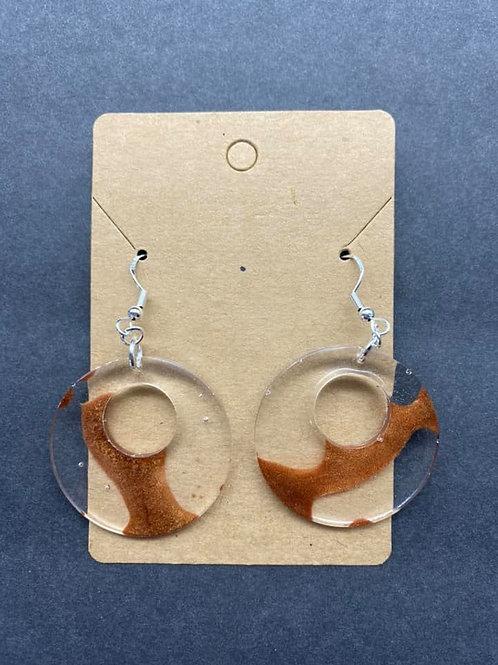Copper Brown & Clear Resin Earrings