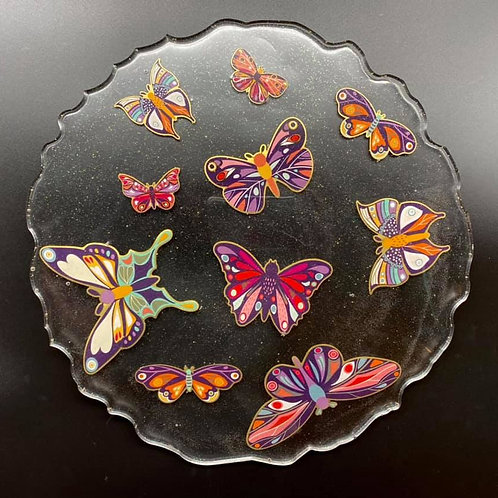 Round Butterfly Resin Tray