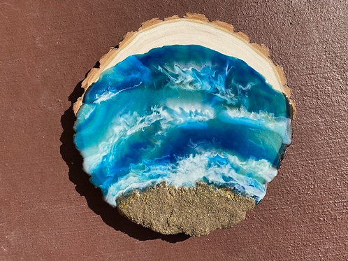 """Ocean Coast on Wood"""