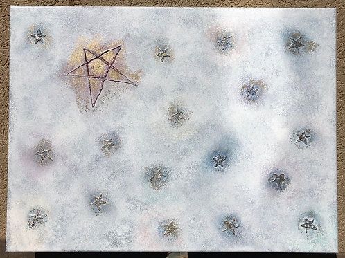 """Stars"" - 18"" x 24"" spray paint on canvas"
