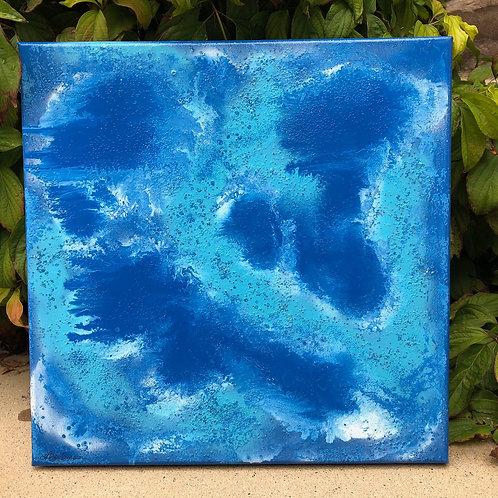 """""""Crystal Blue"""" - 12"""" x 12"""" spray paint on canvas"""