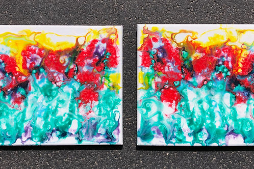 """Mirroring Flowers"" - set of two 8"" x 10"" acrylic on canvas"