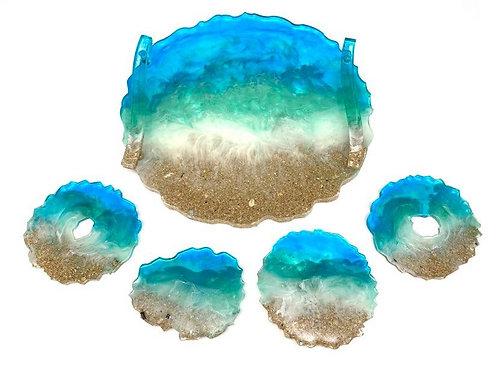 Resin Beach Tray & Coaster set
