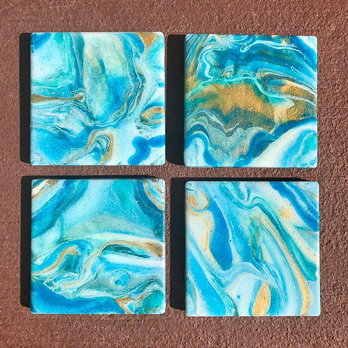 SOLD.  Marbled blue Coasters