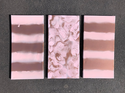 """Pink Copper Trio"" - 10"" x 20"" spray paint on canvas"