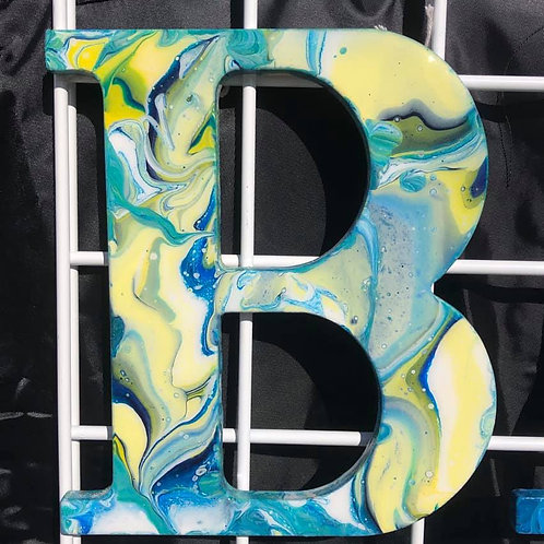 """""""B"""" Marbled Wood Letter"""