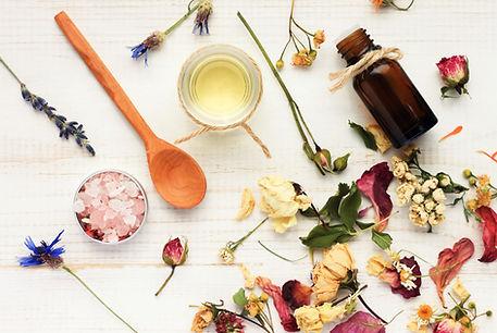 Herbal cosmetic ingredients top view woo