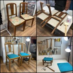 Chaises Art déco et petit tabouret