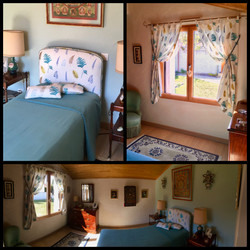 Tête de lit et rideaux à pattes