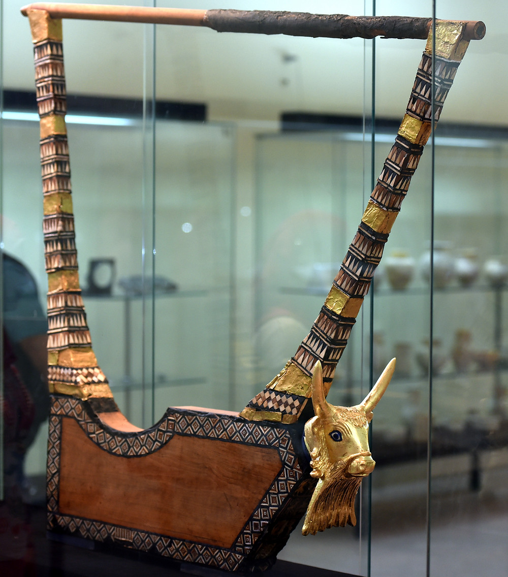 The Queen's gold lyre from the Royal Cemetery at Ur. Iraq Museum, Baghdad (Credit: Wikipedia)