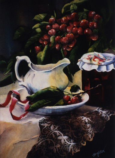 Cherries with Pitcher