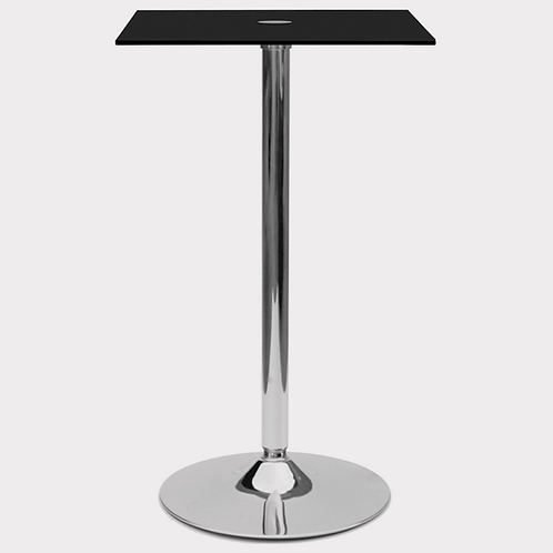 Black Square Glass Poseur Table