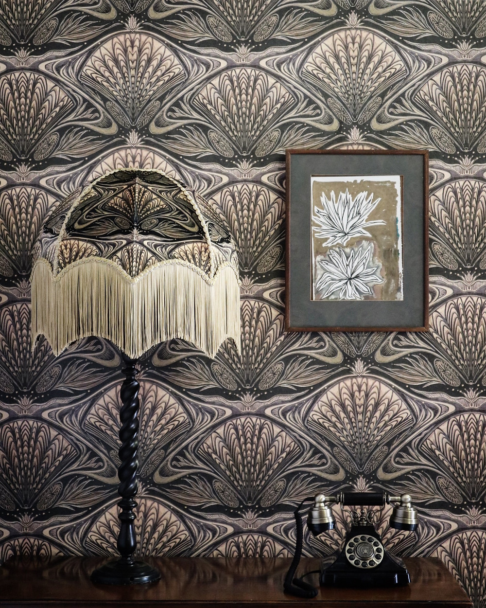 Oyster Lampshade and wallpaper