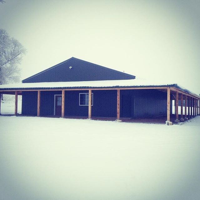 Hunting camp is a little snowy this morn