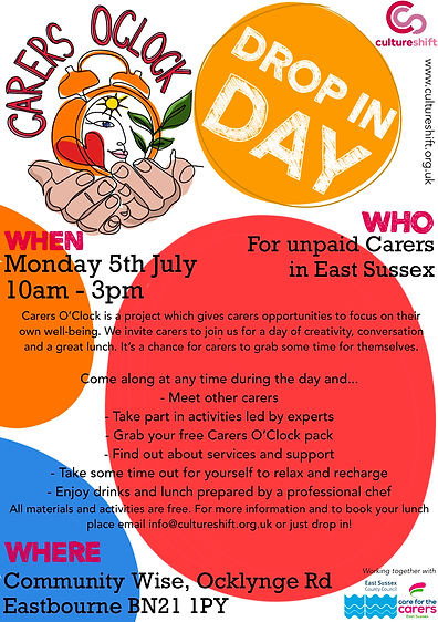 Free event for unpaid Carers in East Sussex, Eastbourne July 5 2021 10am-3pm
