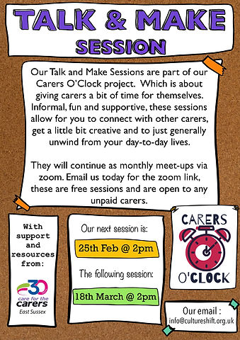 Talk and Make sessions for carers Spring