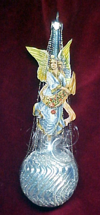 #1342-031 - Wire Wrapped Angel on Swirled Ball, Blue