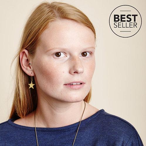 Hammered Brass Star Earrings