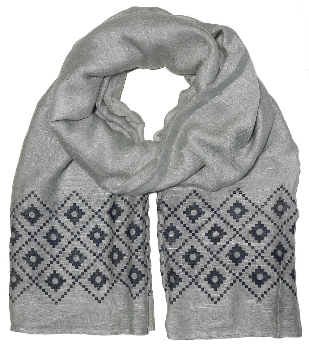 Silk Linen mix Scarf in Grey