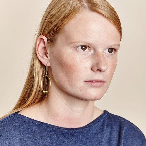 Brass Ribbon Single Hoop Earrings
