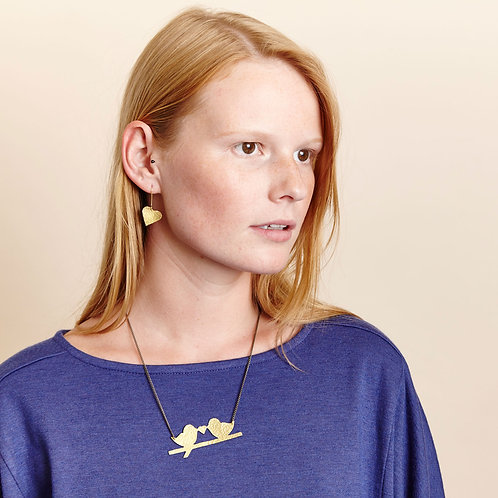 Hammered Brass Lovebird Necklace