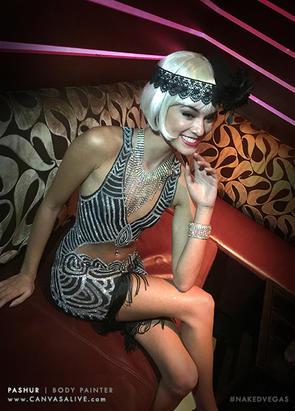 Body Painted Art Deco Flapper Dress