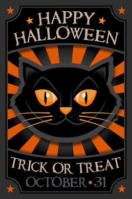 Happy Halloween Black Cat Poster
