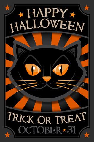 Happy Halloween Black Cat Poster