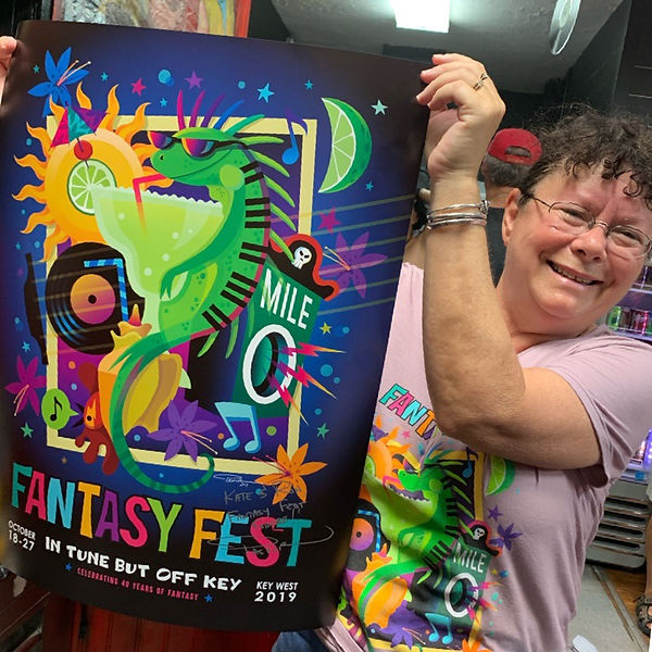 Fan with Signed Fantasy Fest Poster by Pashur