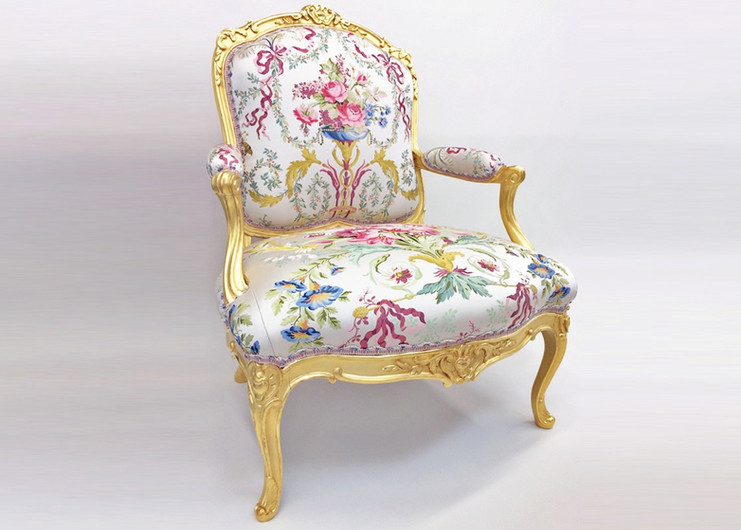 Jean Baptiste Tillard fauteuil covered with a traditional hand woven Lampas, St Cloud, Prelle & Declercq fan edged barid.
