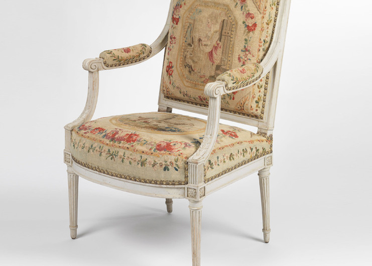 Henri Jacob fauteuil, fully reupholstered and the orginal 18th century Aubusson tapestry restored and reinstated.