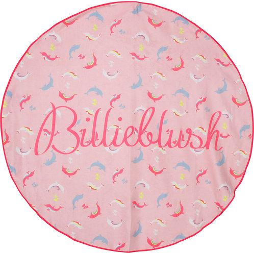 Serviette de plage ronde à imprimé de dauphins - Billieblush