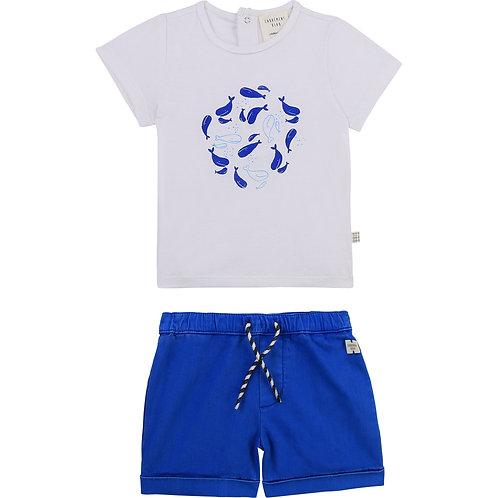 Ensemble short bleu et haut blanc à motif marin - Carrément beau