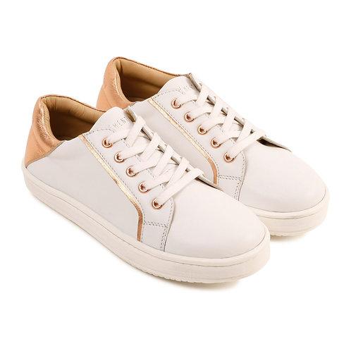 Chaussure en cuir blanc et rose cuivrée - Carrément beau