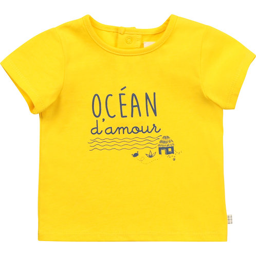 Haut à manches courtes jaune avec inscription Océan d'amour - Carrément beau