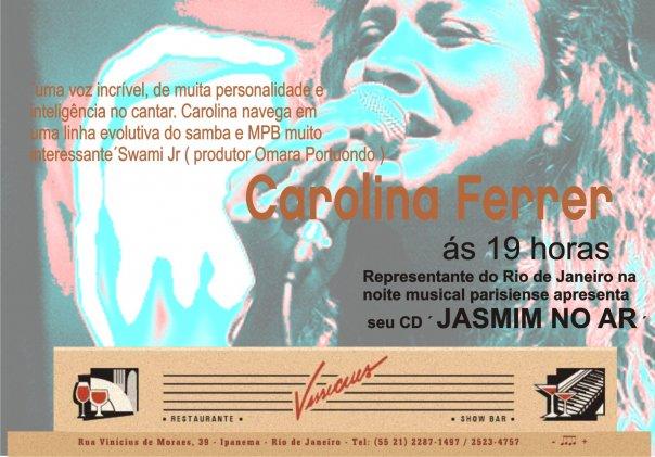 Queridos todos,__QUINTA 25, JASMIM NO AR no VINICIUS´BAR, 19h__com Marco Vasconcellos (violão), Andr