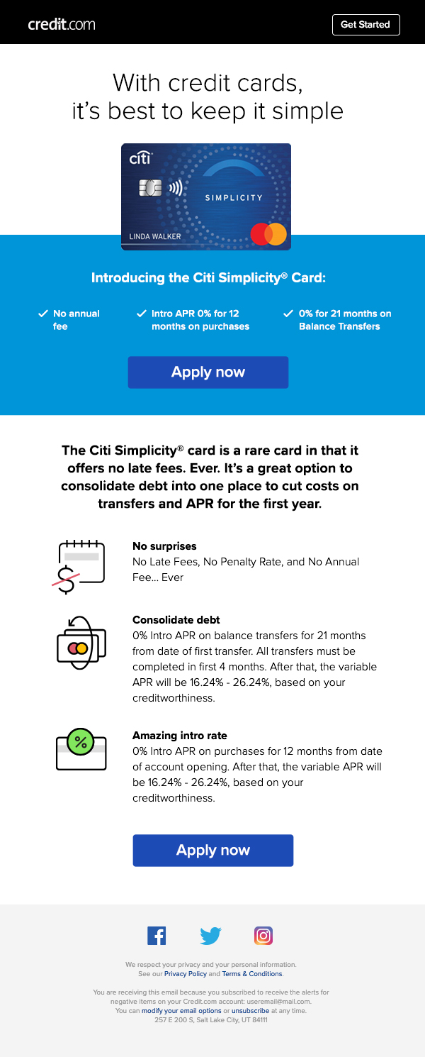 Citi Rewards email