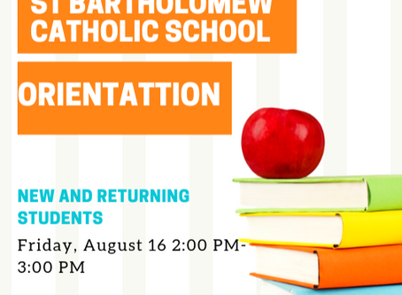 Orientation Friday August 16th 2:00 pm - 3:00 pm