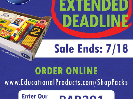 School Supplies Deadline Extended!!!