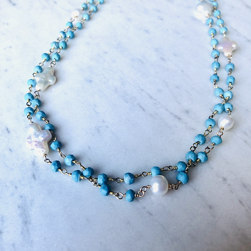 Turquoise & Pearl Long Necklace