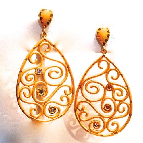 """""""Klimpt"""" Earrings 22k Gold w Diamonds"""