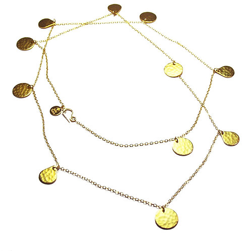 Long Chain w Discs Necklace