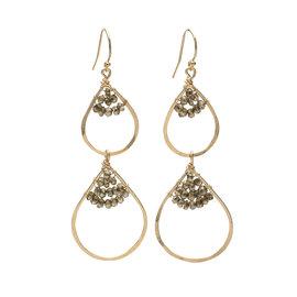 Double Teardrop Caviar Earrings