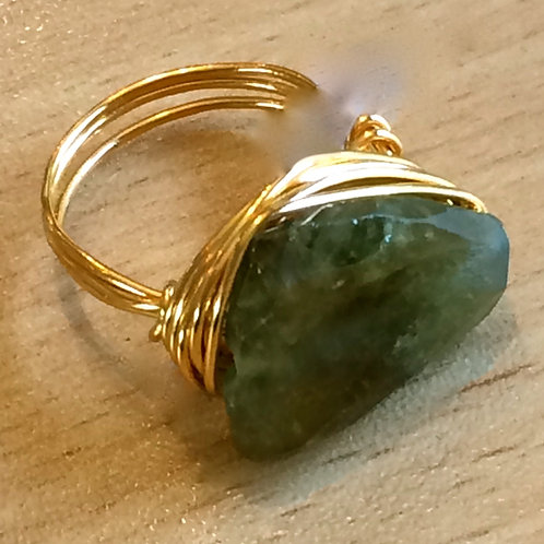Green Garnet Gem Wrap Ring